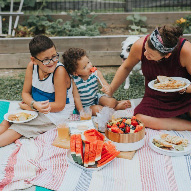 Backyard family picnic